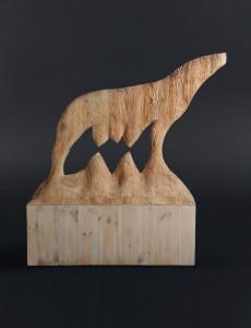 Wilczyca II / She-Wolf II z cyklu ?Cienie? / from the series Shadows, 2012, drewno / wood, 110×130×35 cm