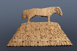 Koń III / Horse III z cyklu ?Cienie? / from the series Shadows, 2008, drewno / wood, 130×250×220 cm